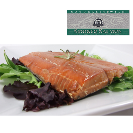 16 oz Natural Smoked Salmon in Silver Gift Box