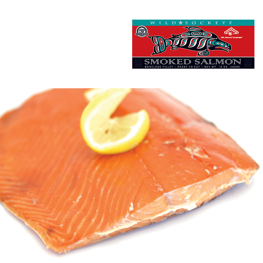 16 oz Smoked Sockeye Salmon Fillet in Red Gift Box | World Wide Gourmet Foods