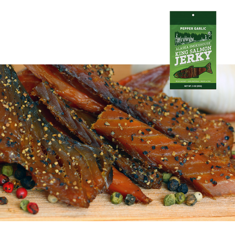 3 oz Pepper Garlic Smoked Salmon Jerky