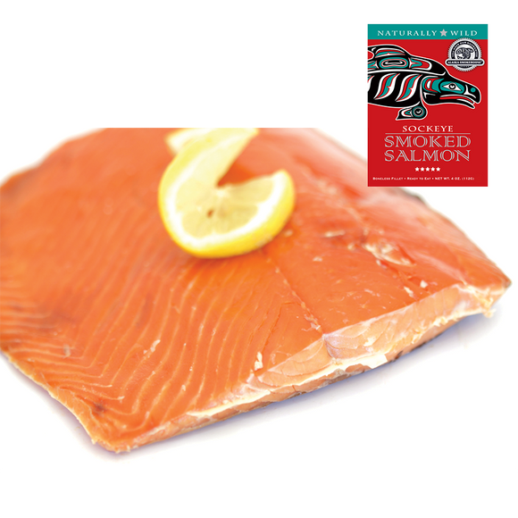 4 oz Sockeye Smoked Salmon in Red Gift Box