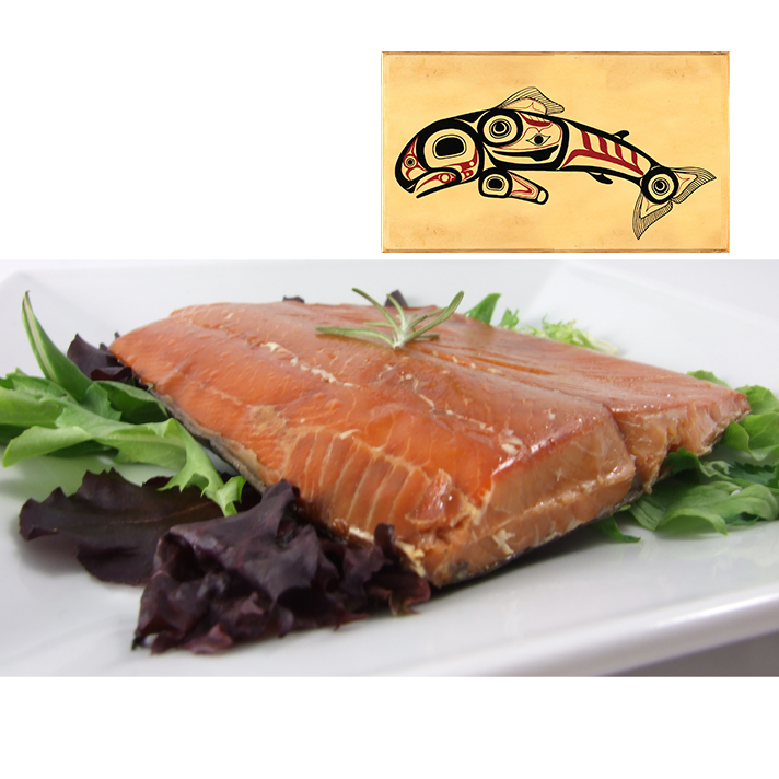 4 oz Natural Smoked Salmon in Jumping Salmon Design Wood Box