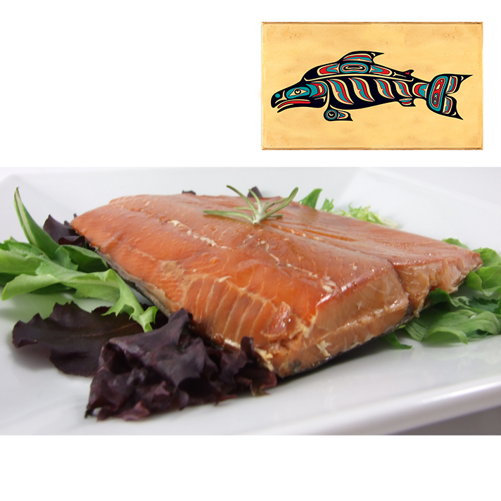 4 oz Natural Smoked Salmon in Three Color Fish Design Wood Box