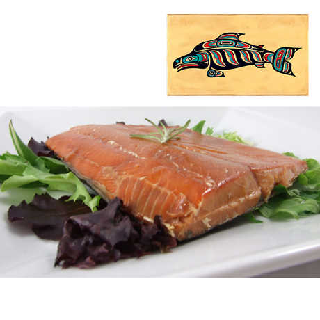 8 oz Natural Smoked Salmon in Three Color Fish Design Wood Box