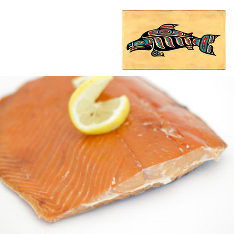 4 oz Sockeye Smoked Salmon in Three Color Fish Design Wood Box