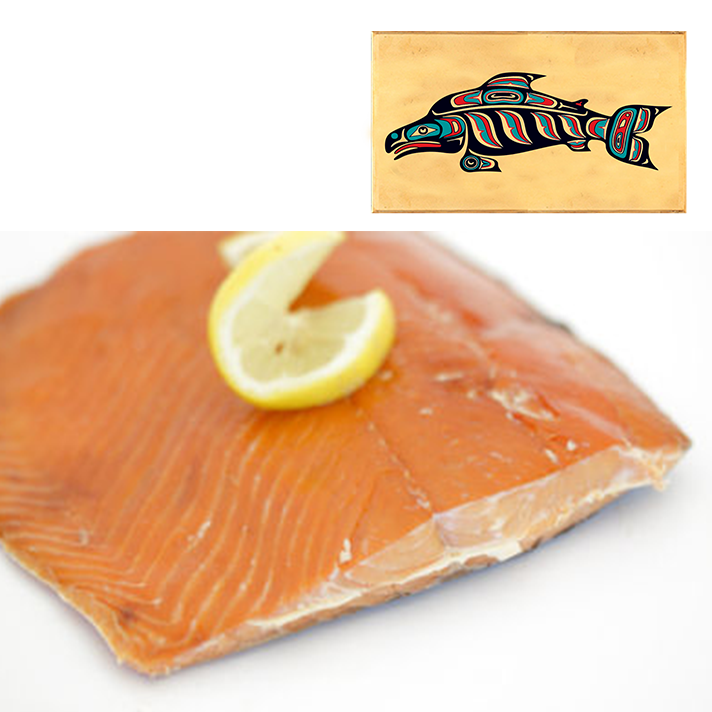 8 oz Sockeye Smoked Salmon in Three Color Fish Design Wood Box