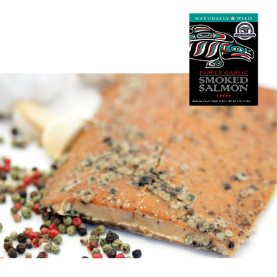 4 oz Pepper Garlic Smoked Salmon in Black Gift Box