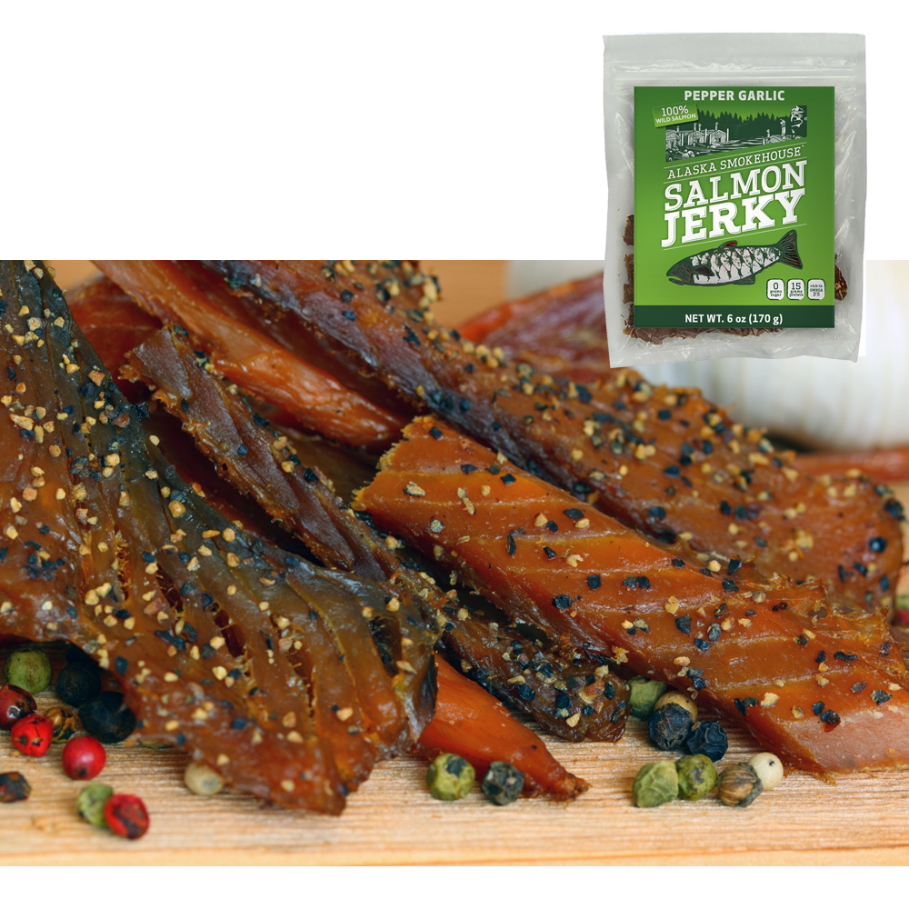 6 oz Pepper Garlic Salmon Jerky