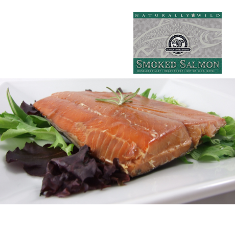 8 oz Natural Smoked Salmon in Silver Gift Box