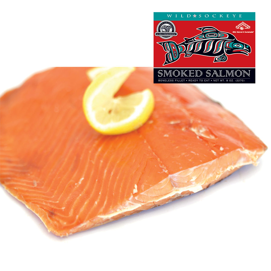8 oz Smoked Sockeye in Red Gift Box
