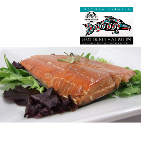 8 oz Natural Smoked Salmon in White Gift Box