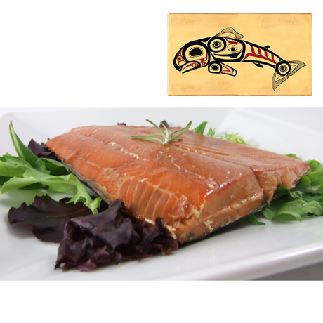 8 oz Natural Smoked Salmon in Jumping Salmon Design Wood Box