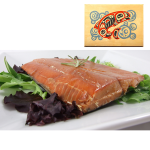 8 oz Natural Smoked Salmon in Salmon Bubbles Design Wood Box