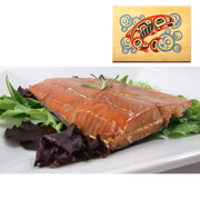 4 oz Natural Smoked Salmon in Salmon Bubbles Design Wood Box