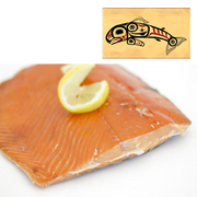 8 oz Sockeye Smoked Salmon in Jumping Salmon Design Wood Box
