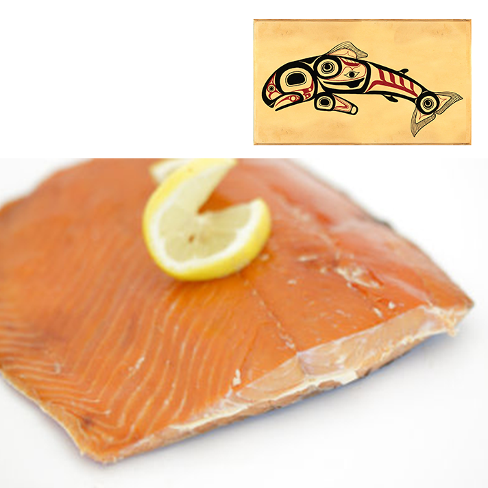 4 oz Sockeye Smoked Salmon in Jumping Salmon Design Wood Box