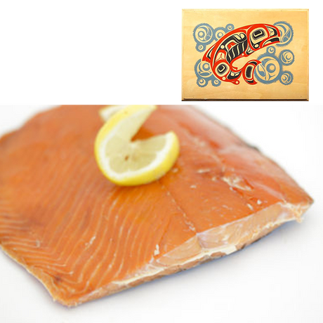 4 oz Sockeye Smoked Salmon in Salmon Bubbles Design Wood Box