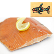 4 oz Sockeye Smoked Salmon in Swimming Whale Design Wood Box