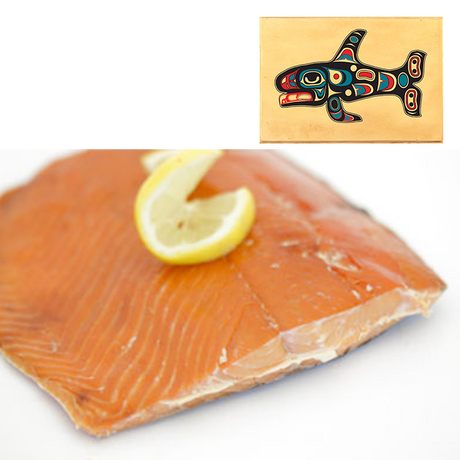 8 oz Sockeye Smoked Salmon in Swimming Whale Design Wood Box