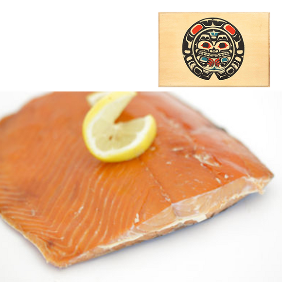 8 oz Sockeye Smoked Salmon in Traditional Bear Design Wood Box
