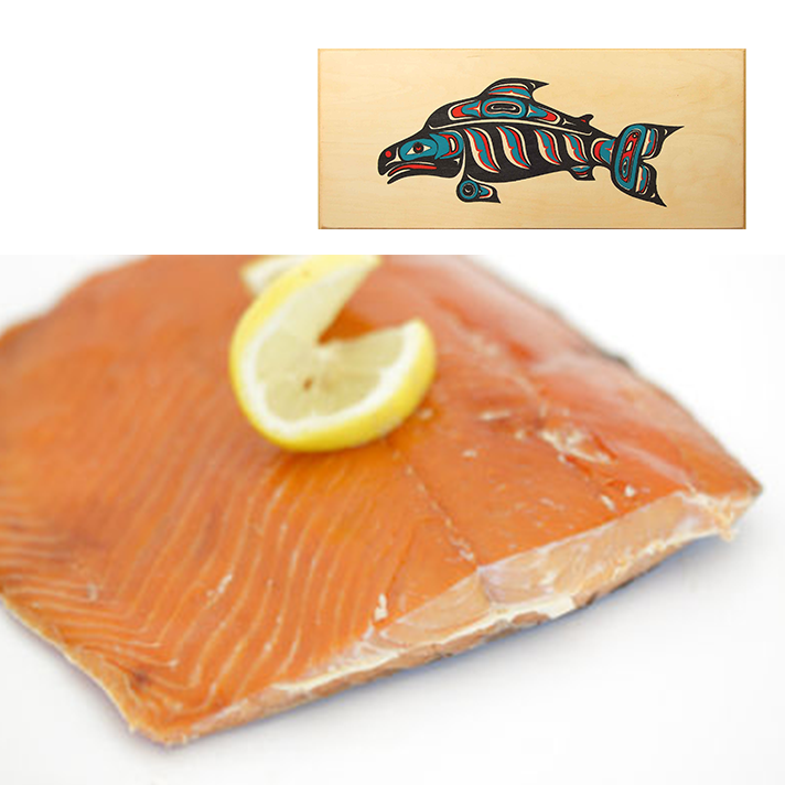 16 oz Sockeye Smoked Salmon in Three Color Fish Design Wood Box