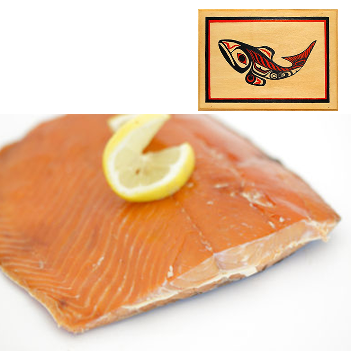 8 oz Sockeye Smoked Salmon in Traditional Fish Design Wood Box