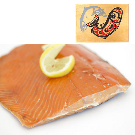 8 oz Sockeye Smoked Salmon in Two Salmon Design Wood Box