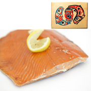 4 oz Sockeye Salmon in Traditional Two Salmon Design Wood Box