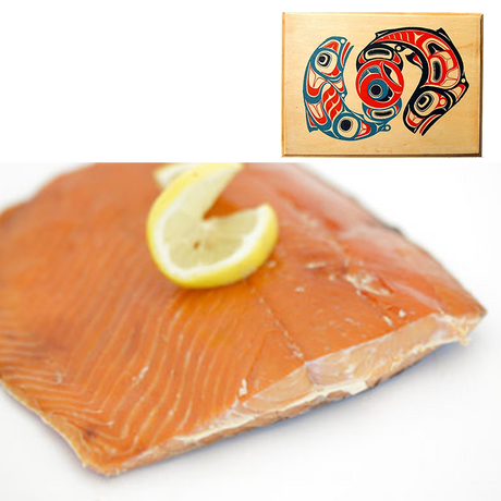 8 oz Sockeye Smoked Salmon in Traditional Two Salmon Design Wood Box
