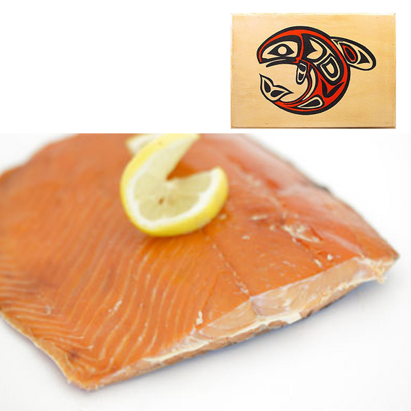 8 oz Sockeye Smoked Salmon in Traditional Whale Design Wood Box