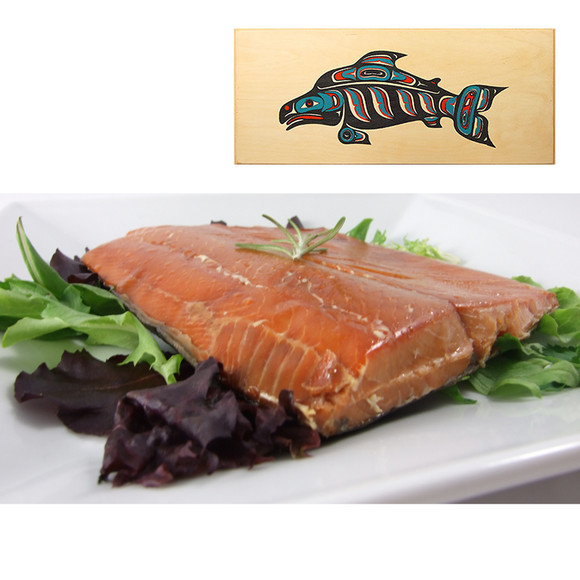 16 oz Natural Smoked Salmon in Three Color Fish Design Wood Box