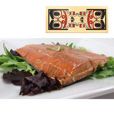 16 oz Natural Smoked Salmon in Totem Design Wood Box
