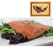 4 oz Natural Smoked Salmon Traditional Fish Design Wood Box