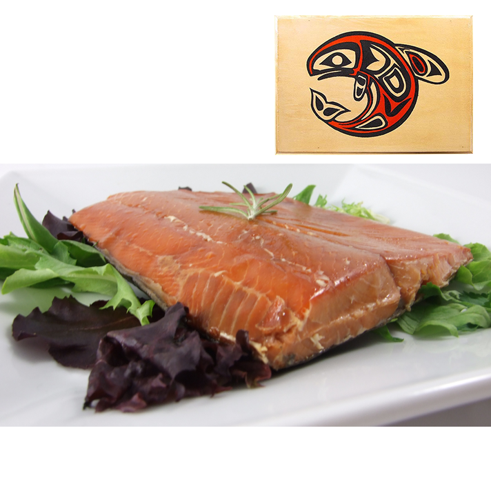 8 oz Natural Smoked Salmon in Traditional Whale Wood Box