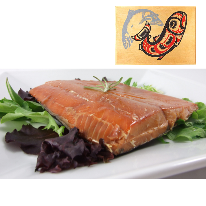 8 oz Natural Smoked Salmon in Two Salmon Design Wood Box