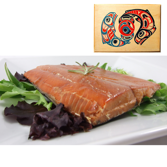 8 oz Natural Smoked Salmon in Traditional Two Salmon Design Wood Box