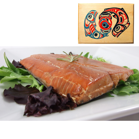 4 oz Natural Smoked Salmon in Traditional Two Salmon Design Wood Box