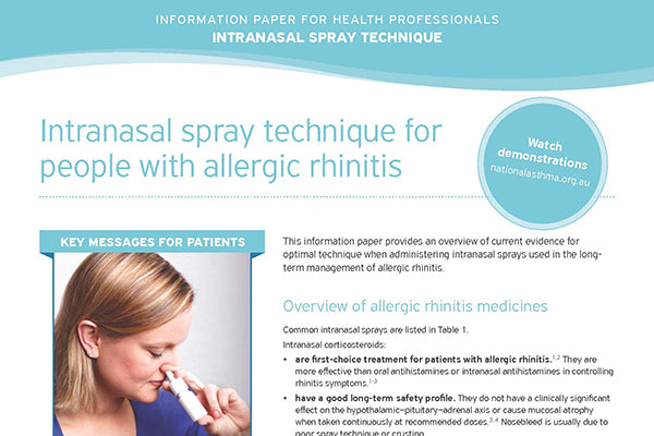 Intranasal Spray Technique information paper