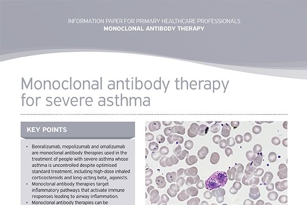 Monoclonal antibody therapy for severe asthma