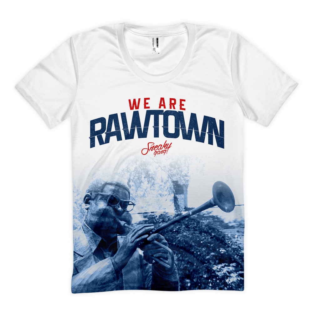 """We Are Rawtown"" Poly Tee White/Navy/Red"