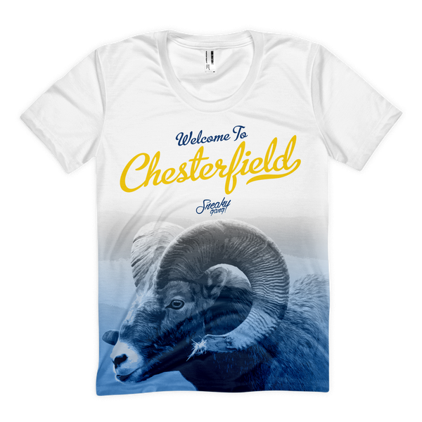 """Welcome To C'Field"" Poly Tee White/Blue/Yellow"