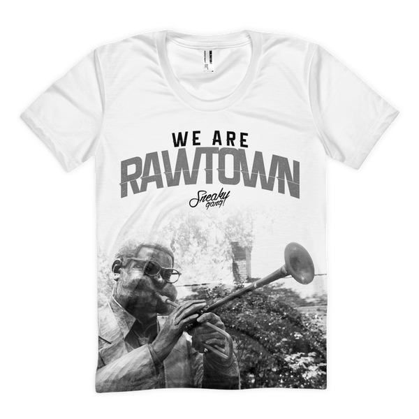 """We Are Rawtown"" Polyester Tee White/Black/Grey"