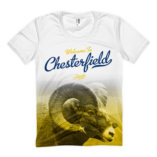 """Welcome To C'Field"" Poly Tee White/Yellow/Blue"