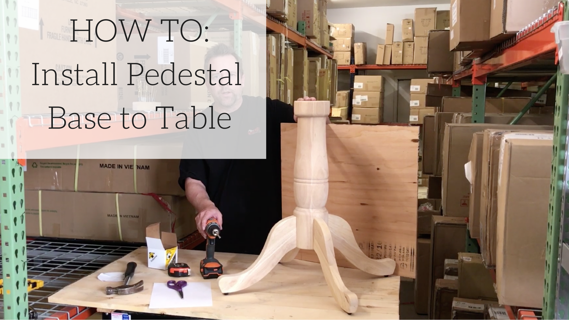 How to Install an Unfinished Wood Pedestal Base to a Table