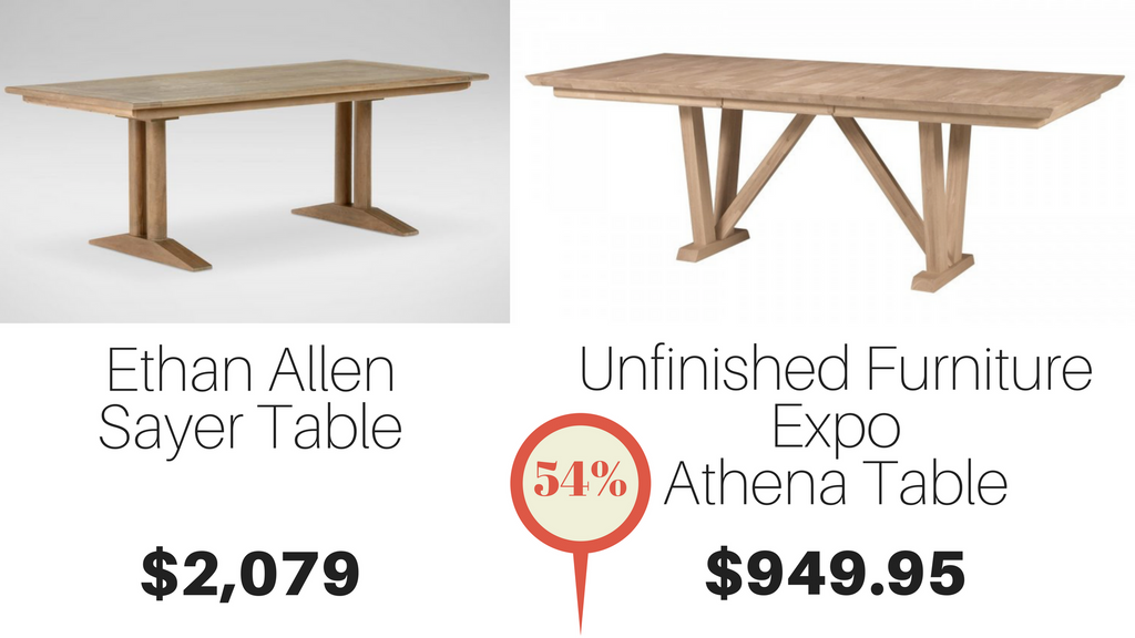 athena hardwood table cheaper than ethan allen table unfinished furniture expo