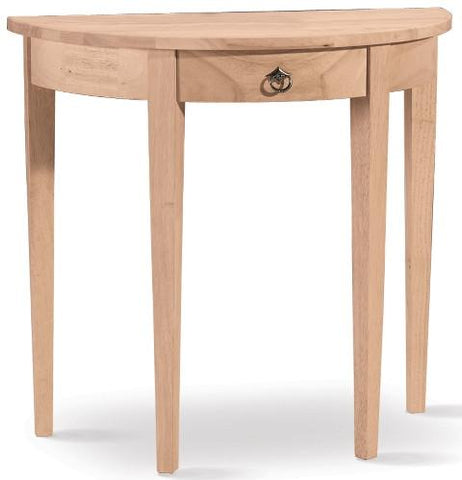 Unfinished Furniture Expo Half Round Console Table with Drawer