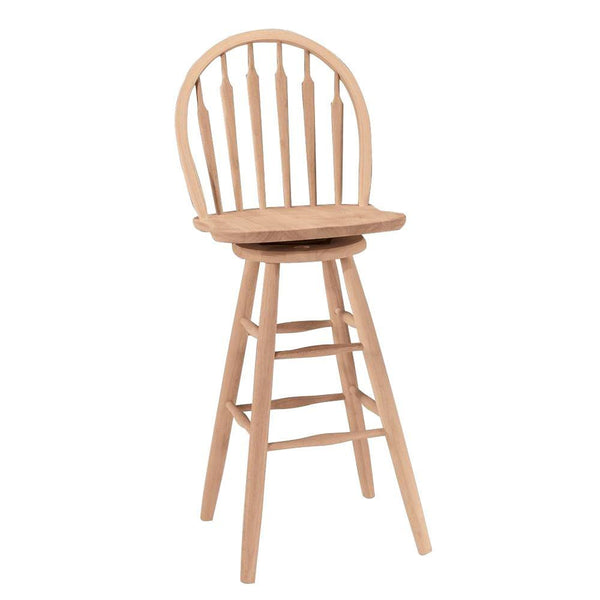 "Arrowback Windsor Swivel Bar Stool - 30"" - UnfinishedFurnitureExpo"