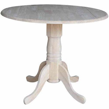 "Queen Anne Drop-Leaf Pedestal Dining Table - 36"" Round - UnfinishedFurnitureExpo"
