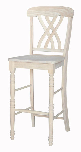 Lattice Back Hardwood Bar Stool