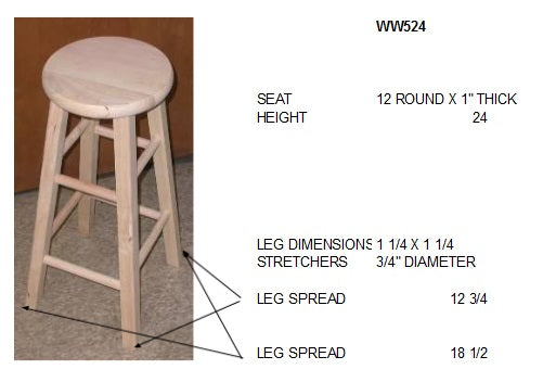 "24"" Hardwood Bar Stool - 2 Pack - UnfinishedFurnitureExpo"