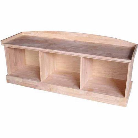 "Hardwood Entry Storage Bench with 3 Cubbies - 52"" - UnfinishedFurnitureExpo"